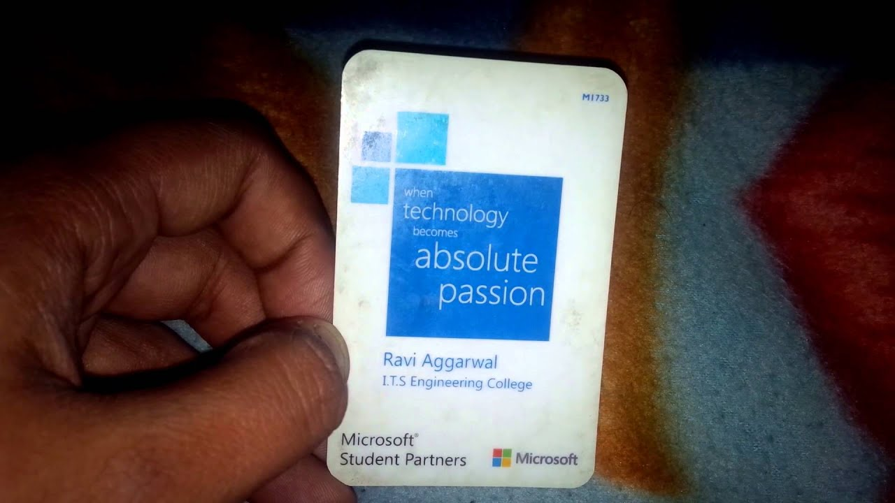 Microsoft Student Partner MSP ID Card YouTube