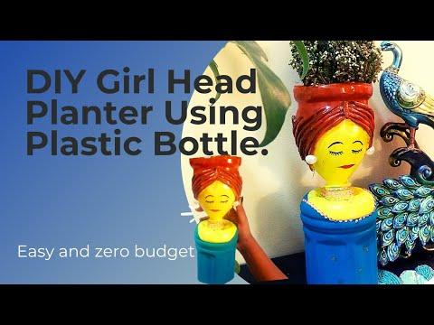 Plastic Planter | Planter Made Of Plastic Bottle | Girl face Planter DIY | Zero Budget Handmade Pots