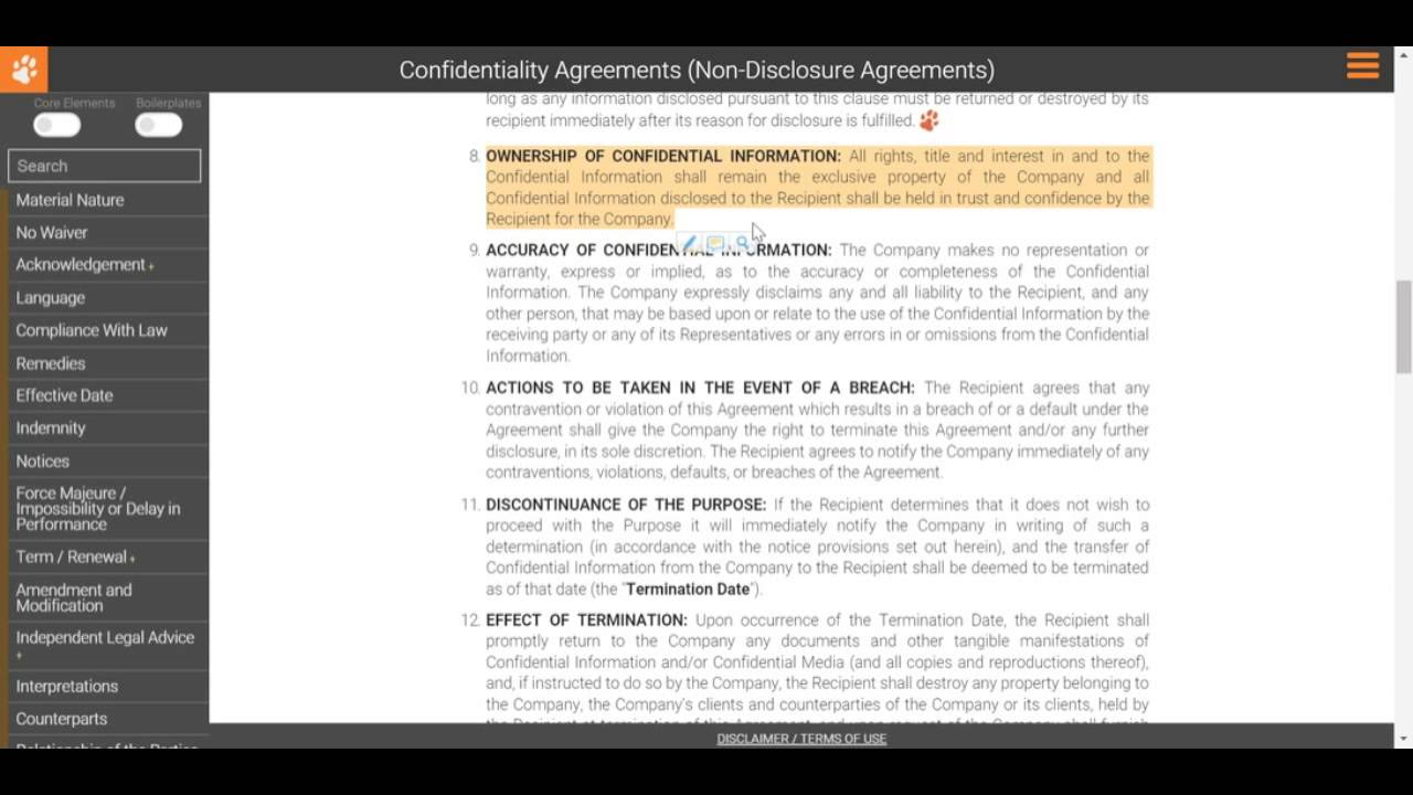 Drafting A Non Disclosure Agreement Ownership Of Confidential