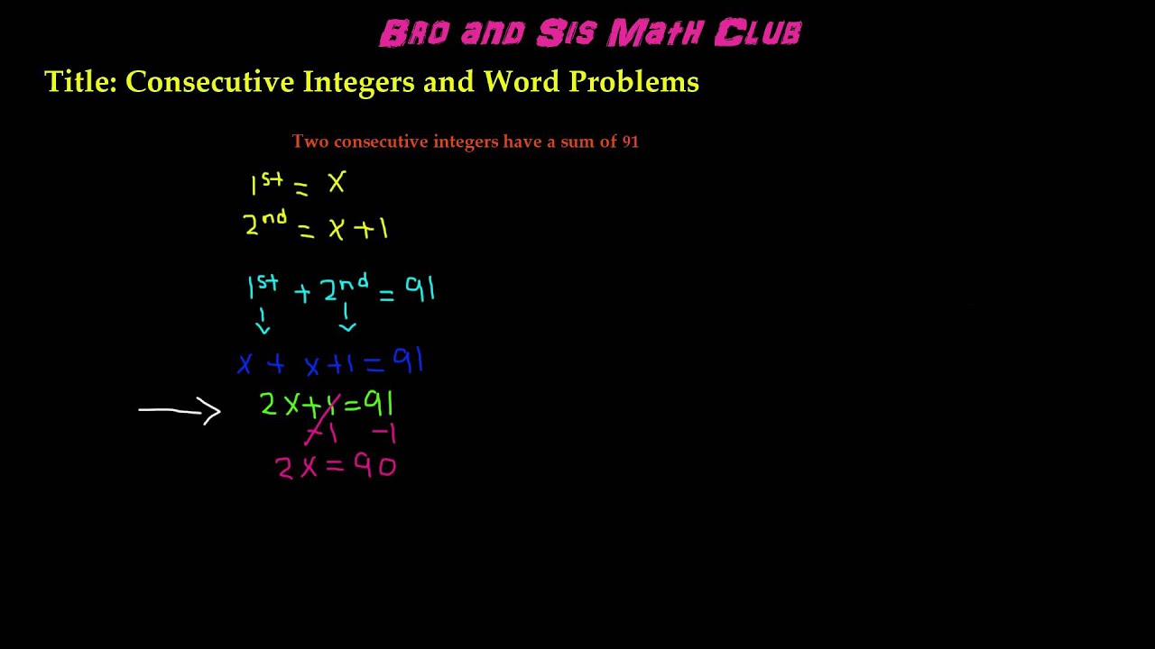 Consecutive Integers Word Problems