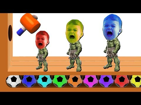 Learn Colors With Hulk Wooden Face Hammer Xylophone Soccer Balls Nusery Rhyme For Kids