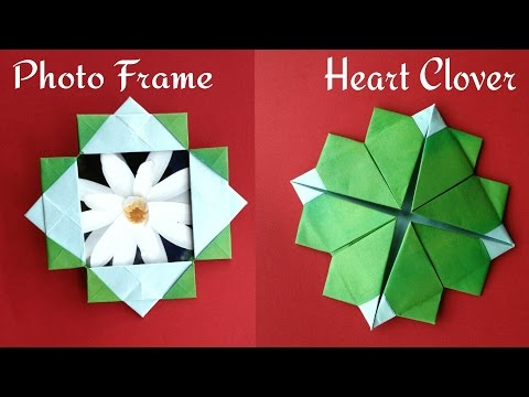 Useful Origami-Paper Photo/Picture frame with Stand cum Heart Clover(2 in 1)-Valentine special💗