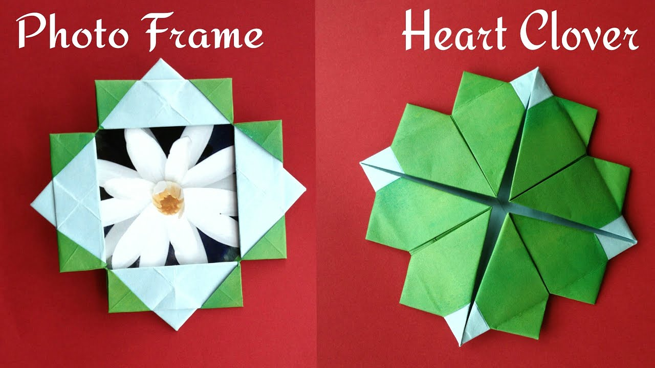 Useful Origami Paper Photopicture Frame With Stand Cum Heart