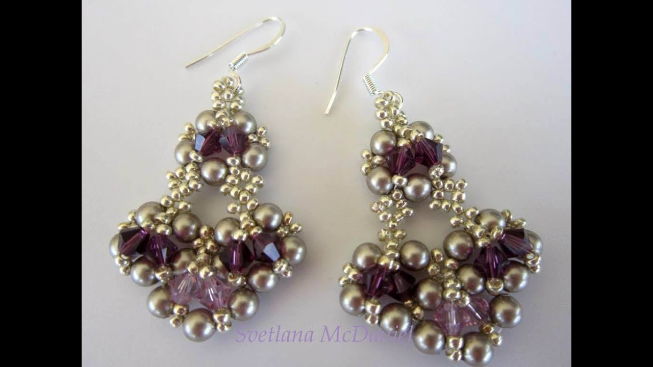 Beaded Earrings With Amethyst Swarovski Crystals Youtube