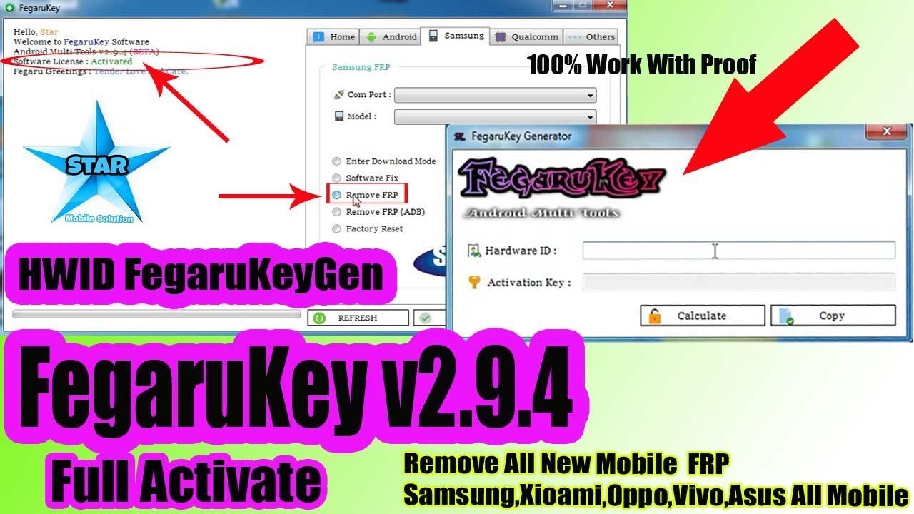 FegaruKey v2 9 4 Beta Tool With HWID Fegaru KeyGen || Full Activate All  Mobile Frp Remove