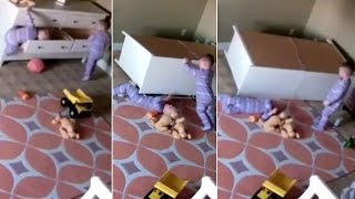 Caught on cam | Toddler rescues twin brother stuck under dresser
