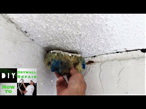 DIY - How to blend popcorn texture with a sponge on a ceiling repair