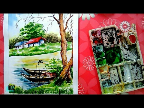 How to draw & paint watercolor painting landscape for beginner