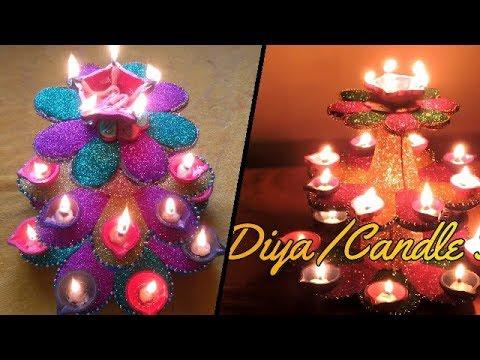 How to make Diya / Candle stand || DIY Diwali decor ideas at home || Chandni's DIY Decor ||