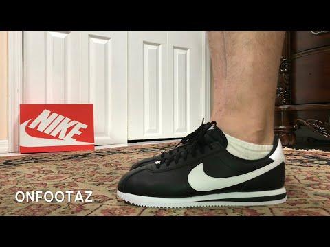 more photos 4d8c1 2d42e Nike Cortez Basic Leather Black White On Foot - YouTube