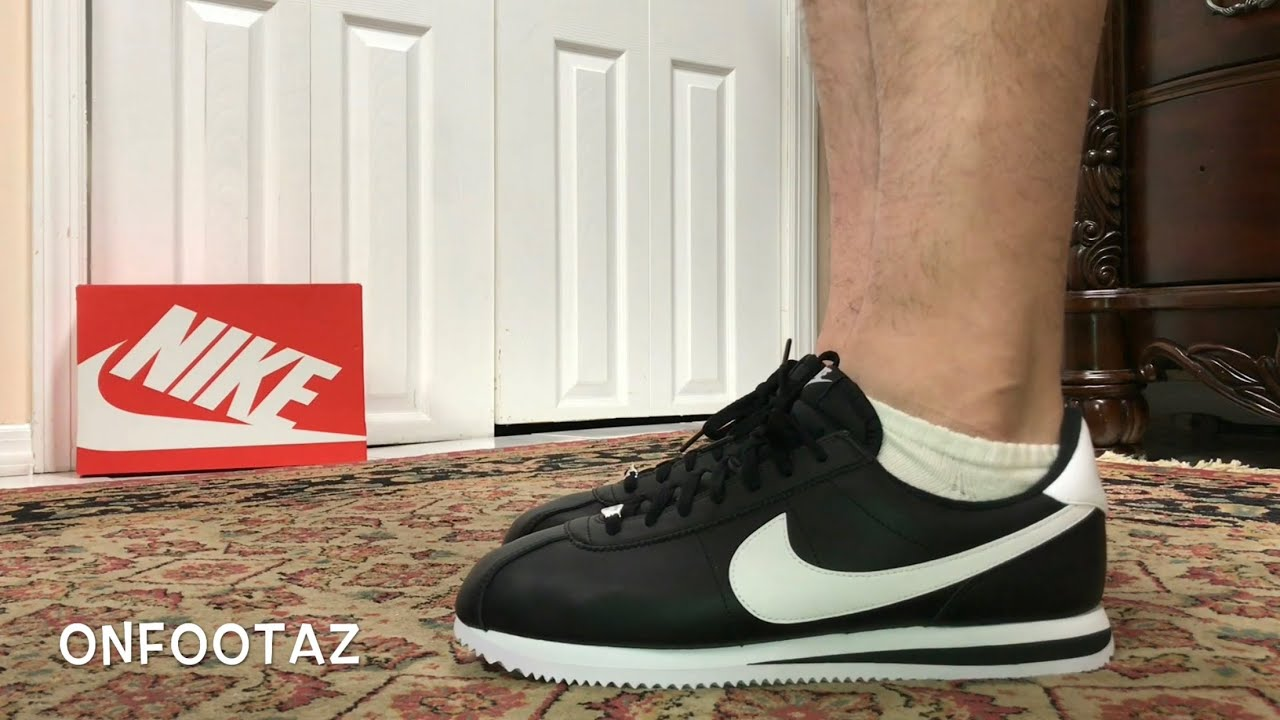 Nike Cortez Basic Leather Black White On Foot