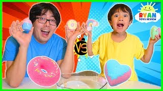 Guess the Bath Bomb Toy Surprise Challenge with Ryan vs Daddy!