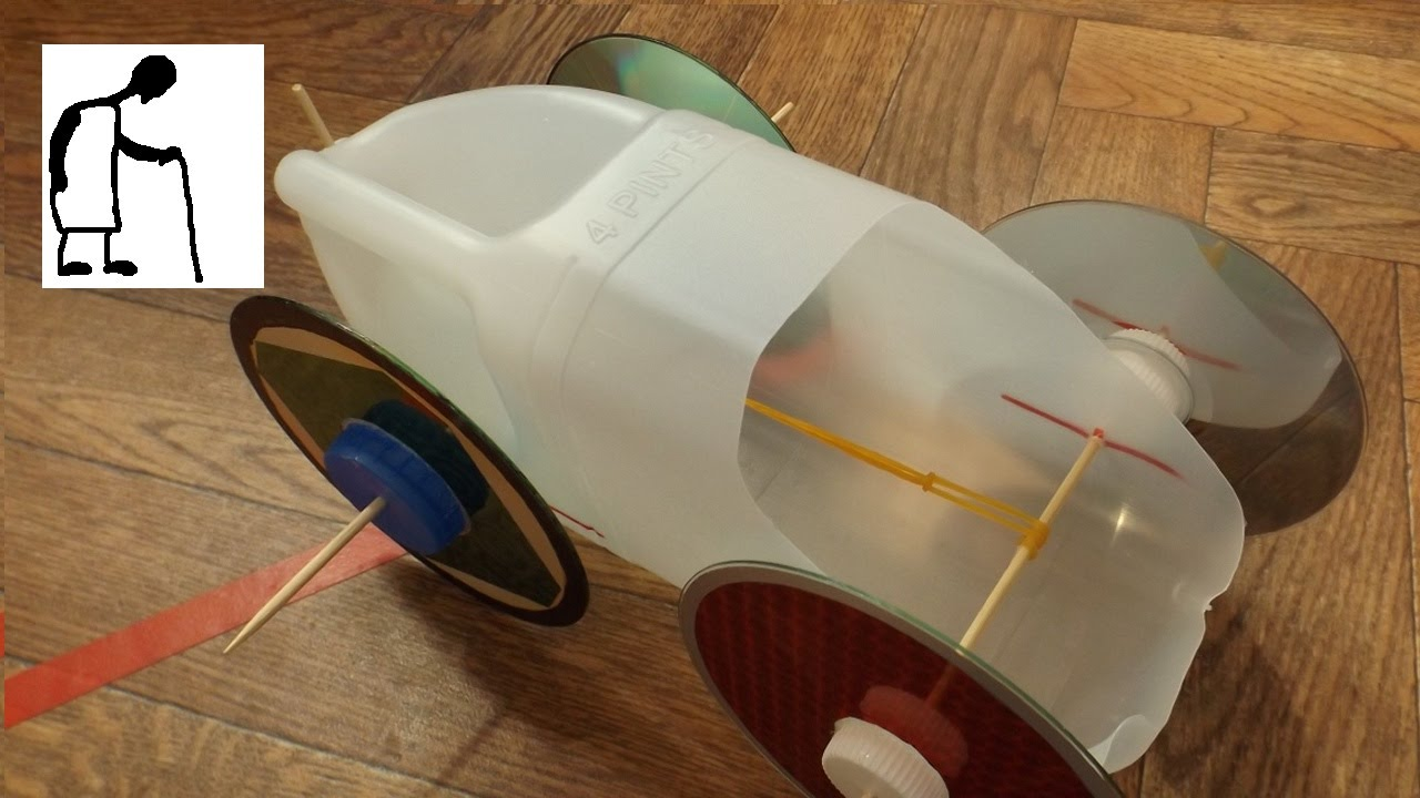 Rubber Band Powered Milk Bottle Car Youtube