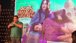 Standup Comedian Jeeveshu Ahluwali Cracks Hilraious Joke at Shubh Mangal Savdhan Trailer Launch