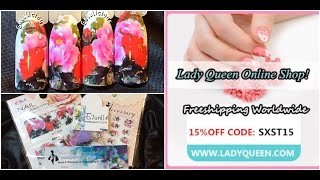 Ladyqueen Flower Water Decals C268 Review & Swatches