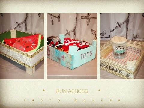 3 ideas para decorar cajas de fresas diy recycled wood box - Decorar caja de fruta ...