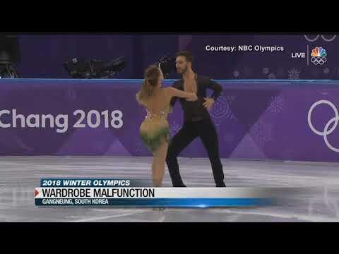 Ice dancer has a wardrobe malfunction