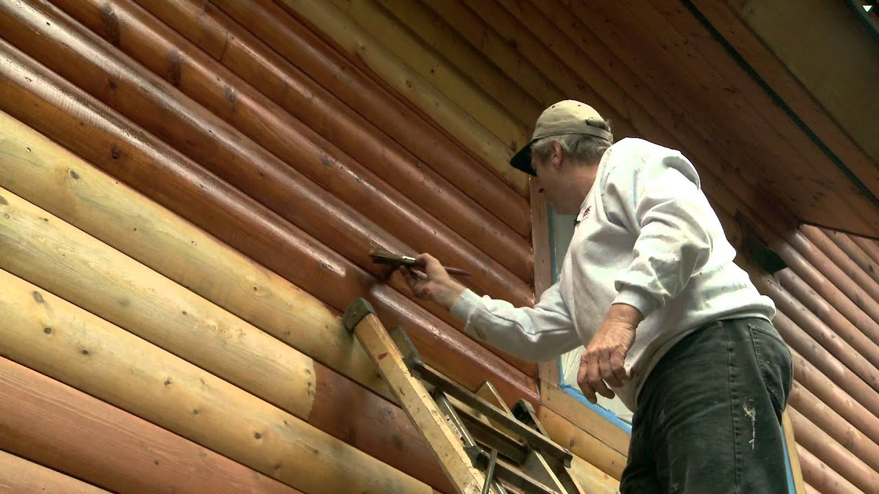 How to apply log home stain youtube for How to stain log cabin