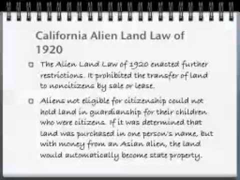 Lecture 6 Agriculture, Alien Land Laws, and Rights
