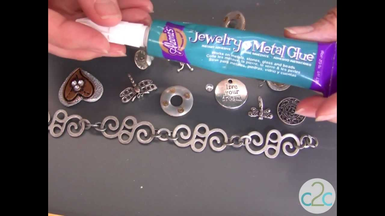 How to make a metal charms bracelet using aleene 39 s jewelry for What kind of glue to use for jewelry