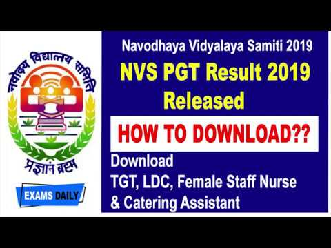 NVS PGT Result 2019 Released Download TGT LDC Female Staff Nurse Catering Assistant