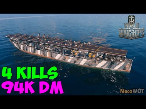 World of WarShips   Langley   4 KILLS   94K Damage - Replay Gameplay 1080p 60 fps