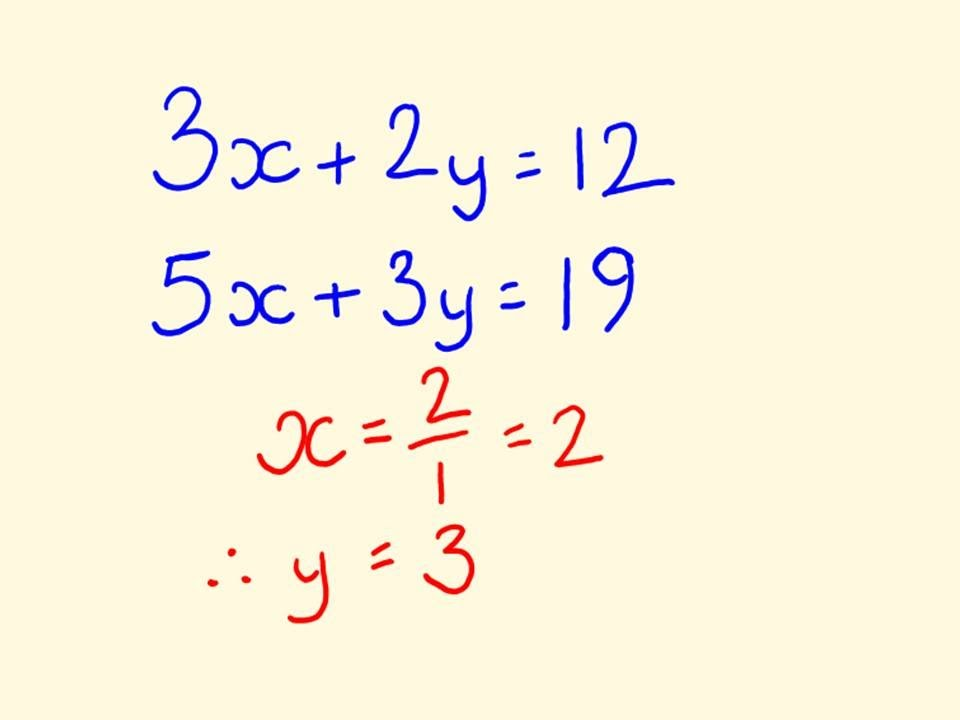 How to solve simultaneous equations using elimination method.