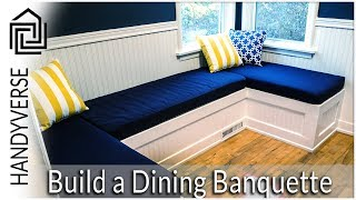 In this video, we show a time-lapse recording of a dining room banquette being built. This provides a good indication of what is