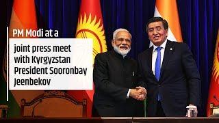 PM Modi at a joint press meet with Kyrgyzstan President Sooronbay Jeenbekov