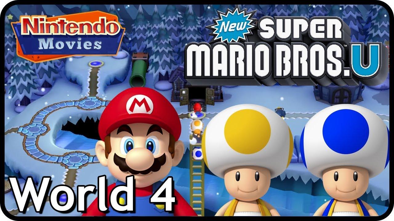 New Super Mario Bros U World 4 Frosted Glacier All Star Coins