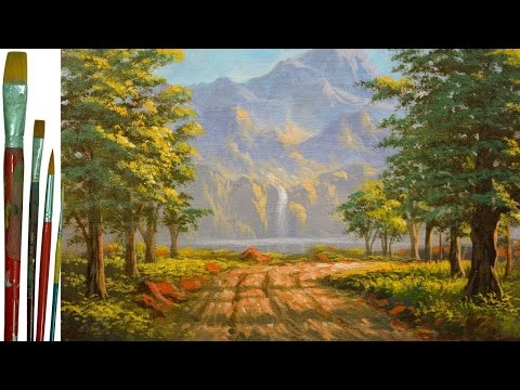 Acrylic Landscape Painting Tutorial Road to River with Waterfalls and Trees by JM Lisondra