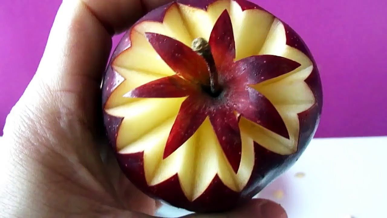 Easy to carve apple art fruit carving garnish best ideas for