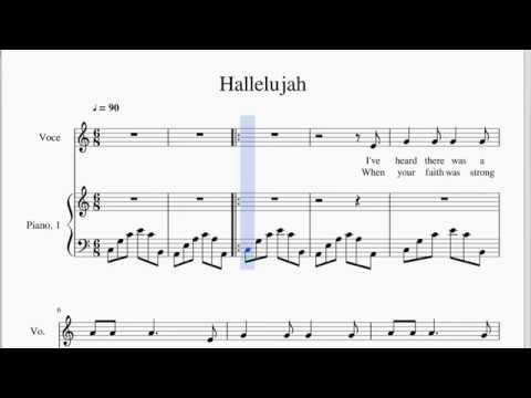Hallelujah - Karoke Version (piano accompaniment + lyrics + score)