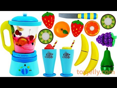 Toy Blender Playset Learn Fruits and Vegetables, Colors with Wooden Velcro Toys for Kids Baby Songs