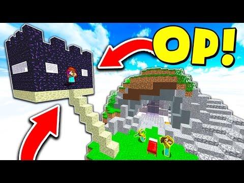 NEW OVERPOWERED MINECRAFT SKYBASE TROLL! (Minecraft BED WARS)