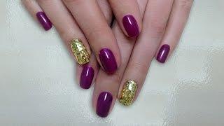 Дизайн ногтей гель-лак shellac - Дизайн блестками (шестигранники) (видео уроки дизайна ногтей)