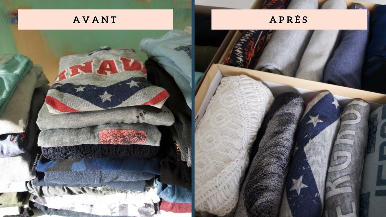 pliage des t shirts la verticale gain de place et de visibilit youtube. Black Bedroom Furniture Sets. Home Design Ideas