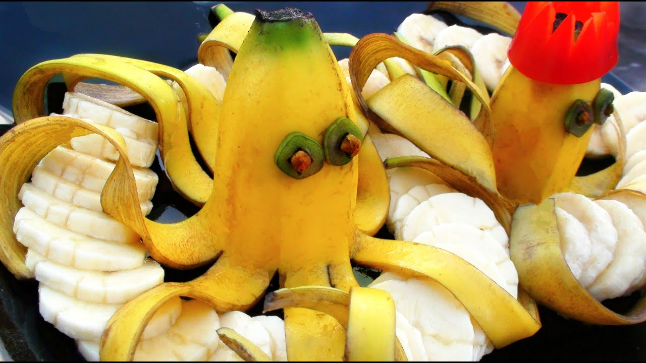 How to make banana decoration art fruit carving garnishes youtube