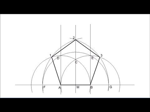 How to draw a regular pentagon knowing the length of its