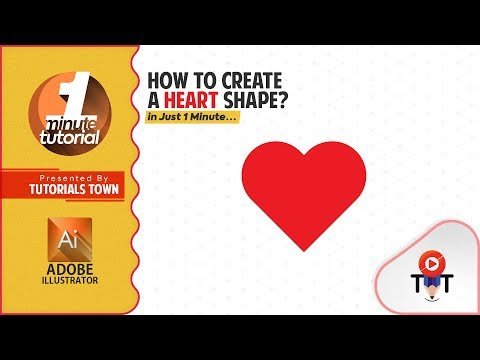 How to create Heart Shape in Adobe Illustrator | 1 Minute Video | Tutorials Town thumbnail