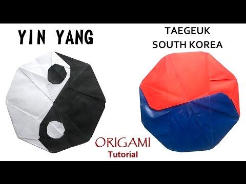 Origami Yin Yang (Tai-Chi Symbol) tutorial (Mi Wu) 折り紙 Taegeuk South Korea  оригами учебник инь янь