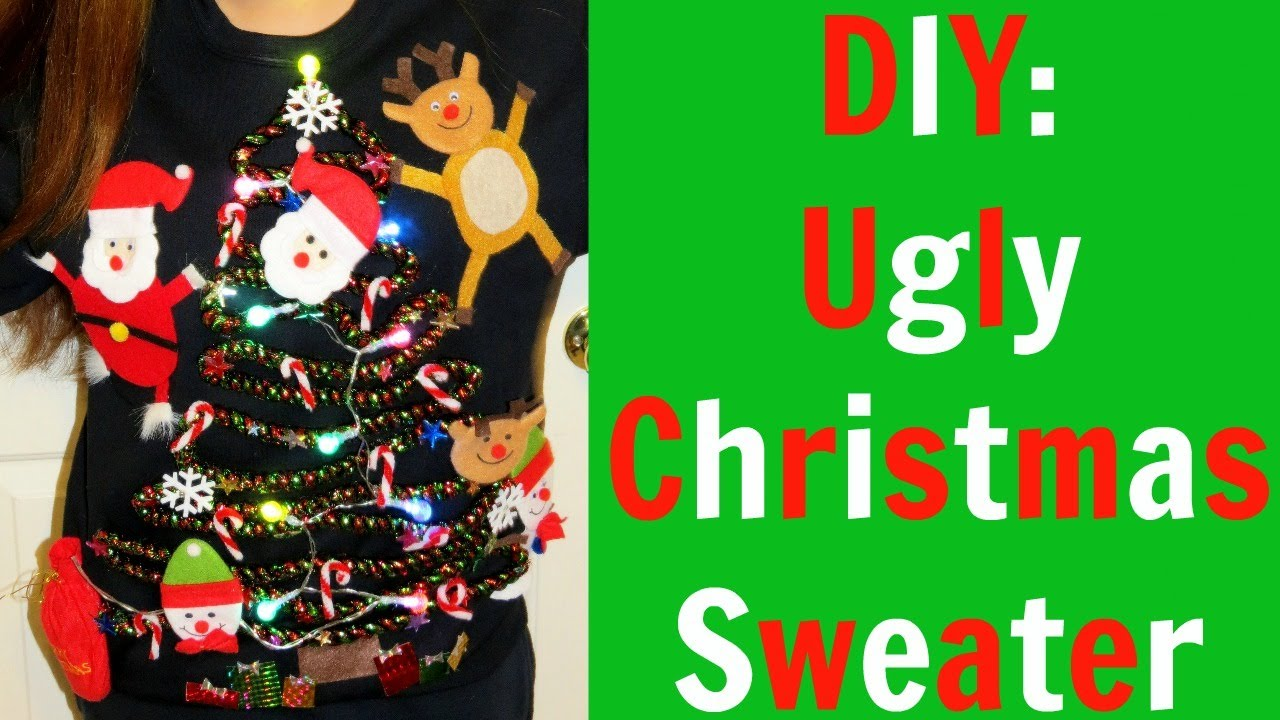 diy ugly christmas sweater youtube - How To Decorate A Ugly Christmas Sweater