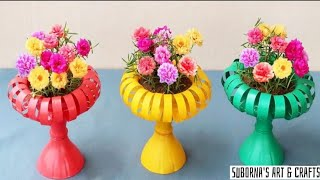 DIY- How to mąke hanging flower pots from recycled bottles for small garden|| Gardening ideas