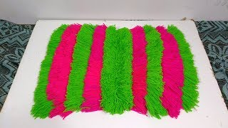 DIY How to make doormat with old clothes and woolen how to make table mat form woolen