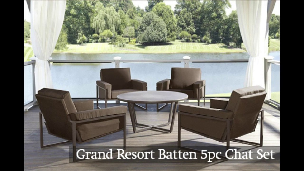 Grand Resort Batten 5pc Chat Set | The Outdoor Patio Store