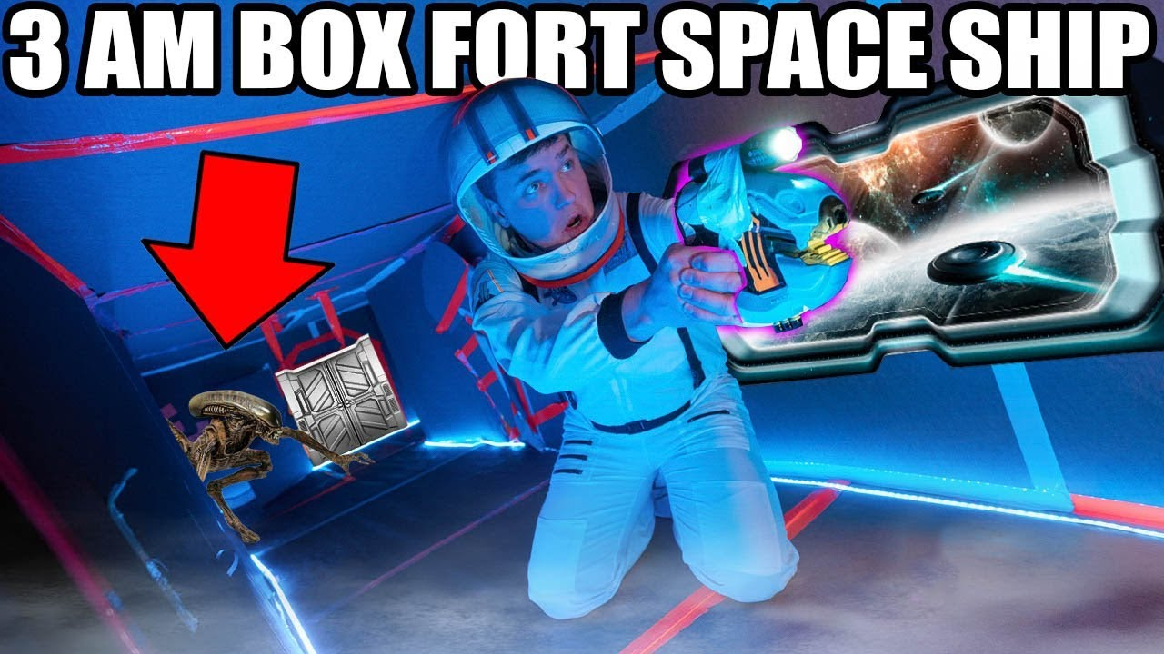 3am Box Fort Spaceship Challenge 📦😱scary Aliens Space
