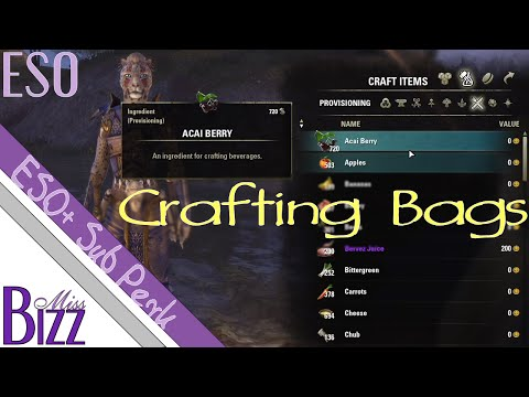 ESO Crafting Bags - Elder Scrolls Online Crafting Bag Sub perk - ESO+