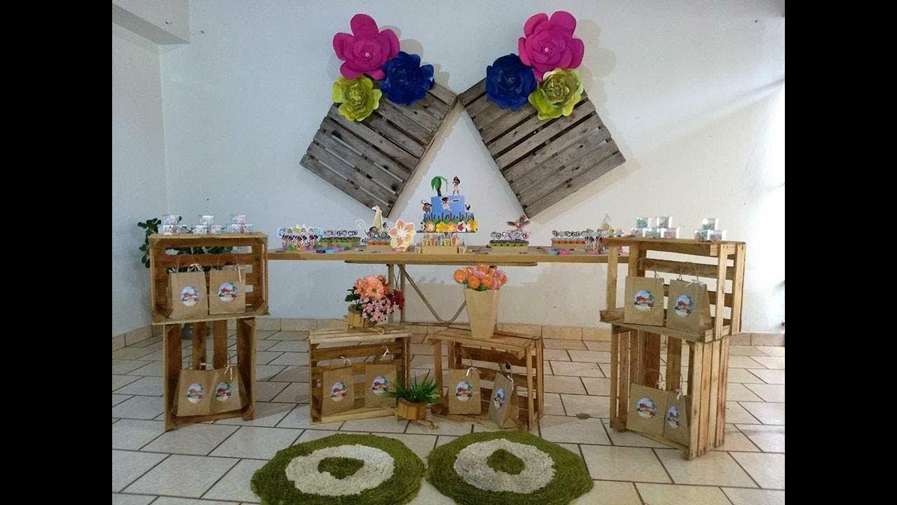 Decoraç u00e3o festa Moana em casa YouTube -> Decoração De Festa Havaiana Simples