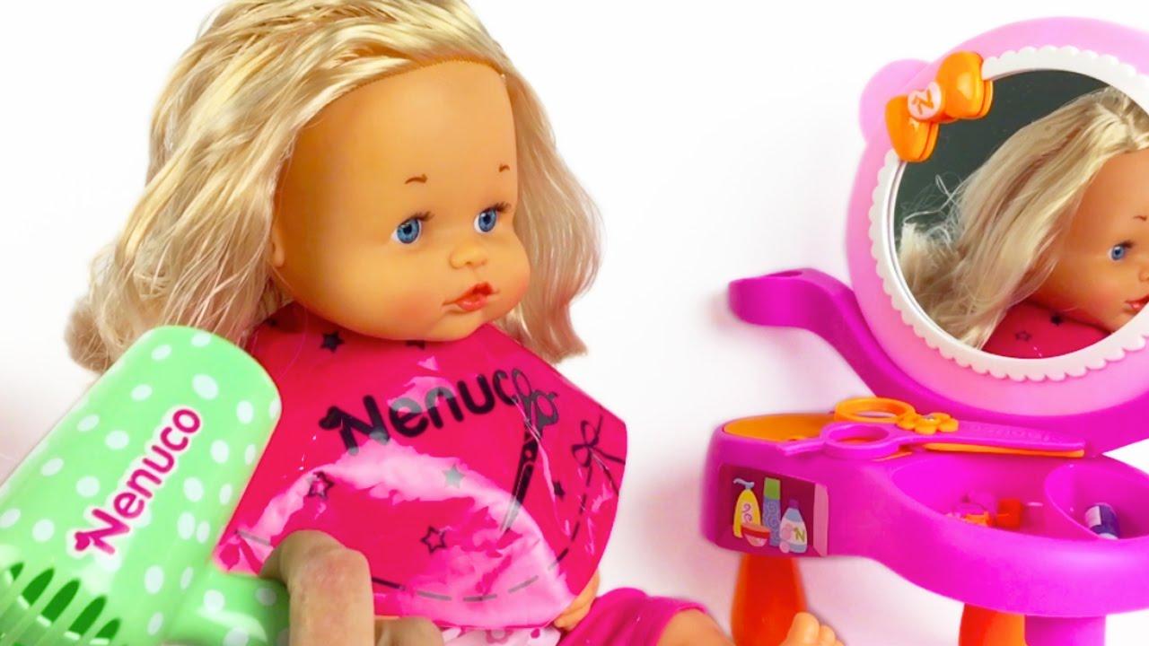 ✓ nenuco baby doll hair style braids ponytails comb hairdryer hair straightener scissors shampoo