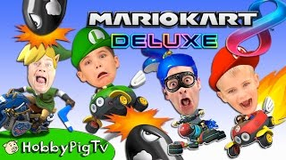 Switch Battle CRUISE + CASTLE + RAINBOW ROAD! Video Game Mario Kart 8 Deluxe Nintendo HobbyPigTV